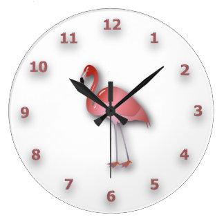 Grande Horloge Ronde Flamant brillant avec des nombres roses