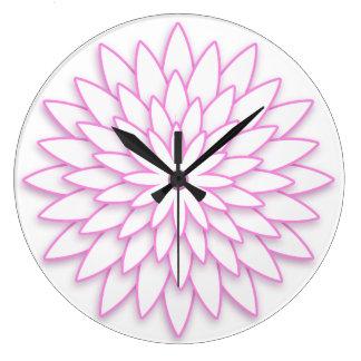 Grande Horloge Ronde Fleur 3D géométrique abstraite