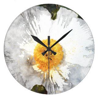 """Grande Horloge Ronde Fleur pour aquarelle d'effet de """"fleur"""""""