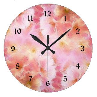Grande Horloge Ronde Fleurs d'abrégé sur rose en pastel