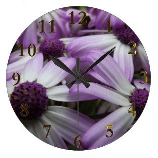 Grande Horloge Ronde fleurs roses