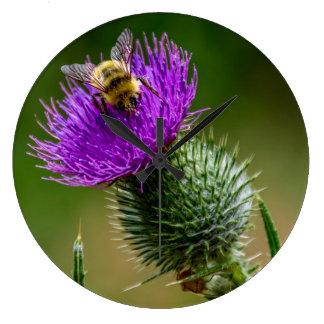 Grande Horloge Ronde Fleurs sauvages de pollination d'abeille de désert