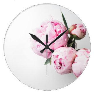 Grande Horloge Ronde Floral rougissent les pivoines roses