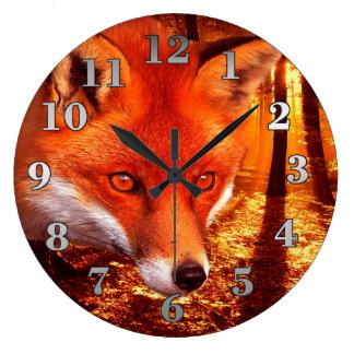 Grande Horloge Ronde Fox rouge