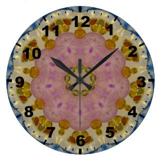 Grande Horloge Ronde Fractale ambre de gemmes