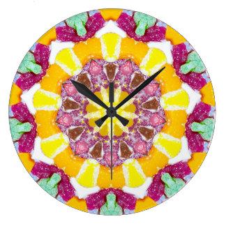 Grande Horloge Ronde Fractale de sucrerie d'oranges et de citrons