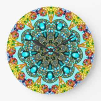 Grande Horloge Ronde Fractale en cristal d'anneau