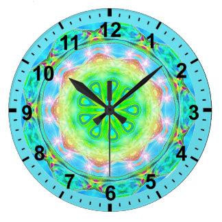 Grande Horloge Ronde fractale iridescente ~Ethereal pour le ~ de filles