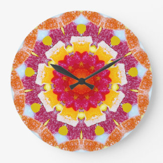 Grande Horloge Ronde Fractale mélangée de sucrerie de fleur