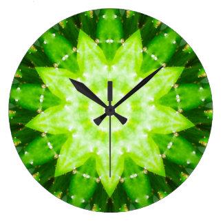 Grande Horloge Ronde Fractale succulente épineuse lumineuse