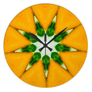 Grande Horloge Ronde Fractale Zesty d'éclat de citron