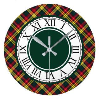 Grande Horloge Ronde Frontière de tartan de Buchanan de clan