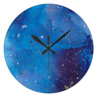 Grande Horloge Ronde Galaxie bleu-foncé