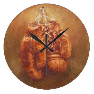Grande Horloge Ronde Gant de boxe rustique des sports |