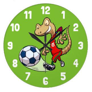 Grande Horloge Ronde Gecko heureux d'étoile du football donnant un coup