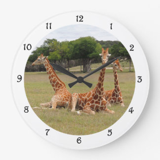 Grande Horloge Ronde Girafe trois au claquement fossile de mur de jante
