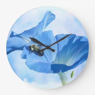 Grande Horloge Ronde Gloire de matin bleue et bourdon