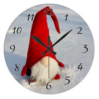 Grande Horloge Ronde Gnome scandinave de Noël