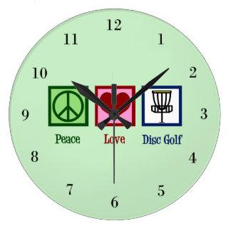 Grande Horloge Ronde Golf de disque d'amour de paix