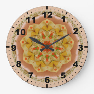 Grande Horloge Ronde ~ gonflé de fractale d'abricot et de citron de ~