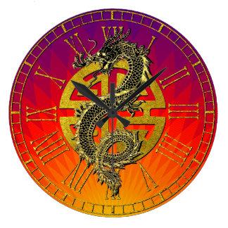 Grande Horloge Ronde Gradient chinois de coucher du soleil de