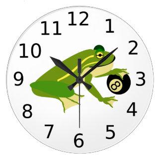 Grande Horloge Ronde Grenouille verte Palming une boule huit