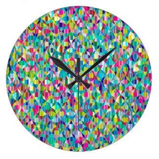 Grande Horloge Ronde Grille bleue et pourpre abstraite colorée