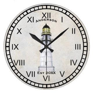 Grande Horloge Ronde Grunge nautique de gris d'horloge murale de phare