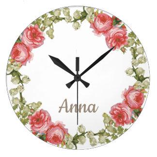 Grande Horloge Ronde Guirlande florale avec votre nom
