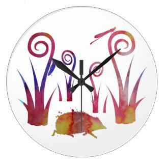 Grande Horloge Ronde Hérisson, scarabée, damselfly
