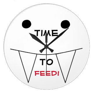 Grande Horloge Ronde HEURE D'ALIMENTER la conception drôle de visage de