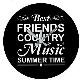 Grande Horloge Ronde Heure d'été de musique country de meilleurs amis