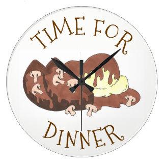 Grande Horloge Ronde Heure pour la nourriture de sauce au jus de pain