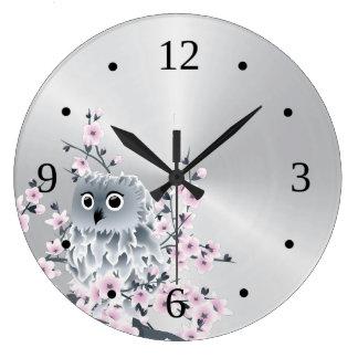 Grande Horloge Ronde Hibou et argent mignons de fleurs de cerisier