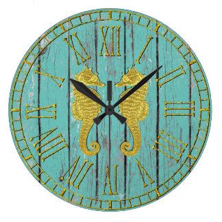 Grande Horloge Ronde Hippocampes d'or votre bois patiné de couleur