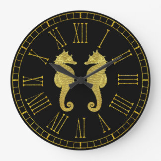Grande Horloge Ronde Hippocampes d'or votre couleur d'arrière - plan