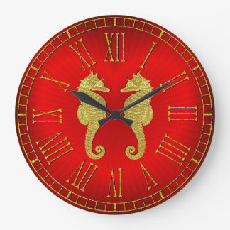 Grande Horloge Ronde Hippocampes et coeur d'or