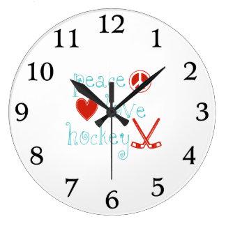 Grande Horloge Ronde Hockey d'amour de paix