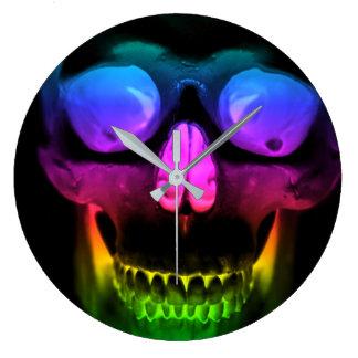 Grande Horloge Ronde Horreur gothique surréaliste rougeoyante de crâne