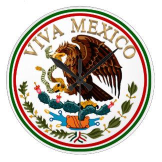 Grande Horloge Ronde Icône de drapeau mexicain du Mexique de vivats
