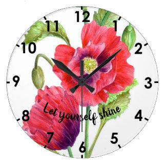 Grande Horloge Ronde Illustration botanique de pavots rouges