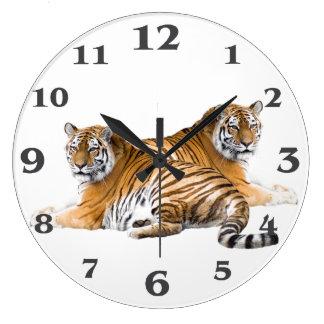 Grande Horloge Ronde Image de tigre pour la Rond-Grand-Mur-Horloge
