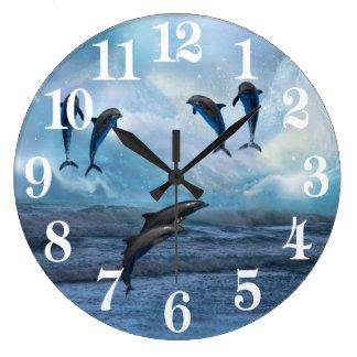 Grande Horloge Ronde Imaginaire de dauphins