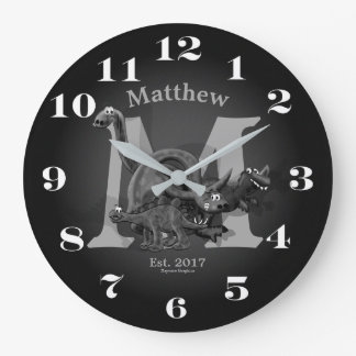 Grande Horloge Ronde Initiale et date de dinosaure