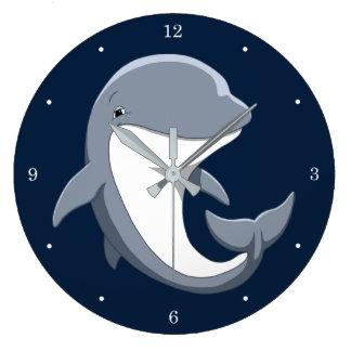 Grande Horloge Ronde J'aime le Bottlenose mignon de dauphins