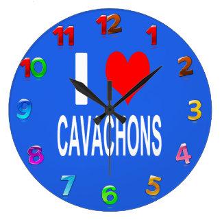 Grande Horloge Ronde J'aime l'horloge de Cavachons, chien