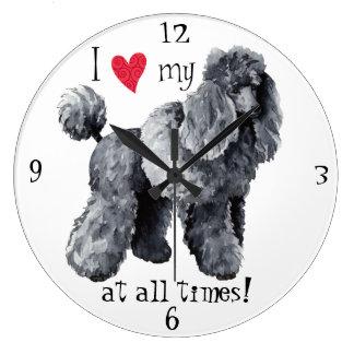 Grande Horloge Ronde J'aime mon caniche miniature
