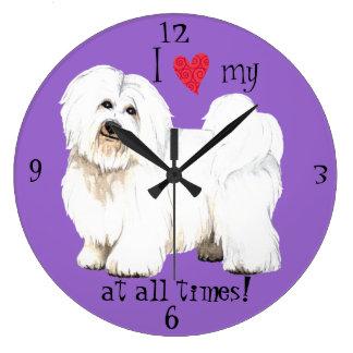 Grande Horloge Ronde J'aime mon coton de Tulear