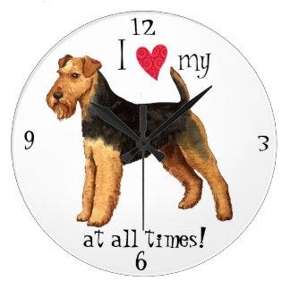 Grande Horloge Ronde J'aime mon gallois Terrier