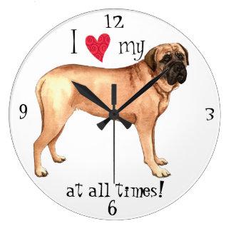 Grande Horloge Ronde J'aime mon mastiff